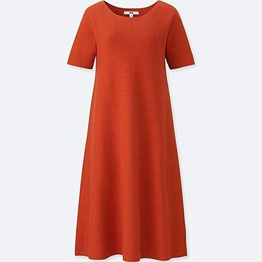 WOMEN 3D COTTON FIT AND FLARE SHORT-SLEEVE DRESS, ORANGE, medium