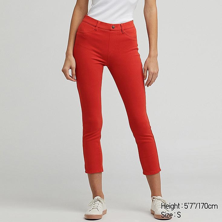 WOMEN ULTRA STRETCH CROPPED LEGGINGS PANTS, ORANGE, large