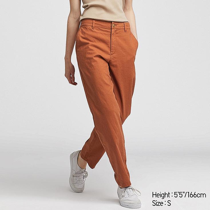WOMEN LINEN COTTON TAPERED PANTS, ORANGE, large