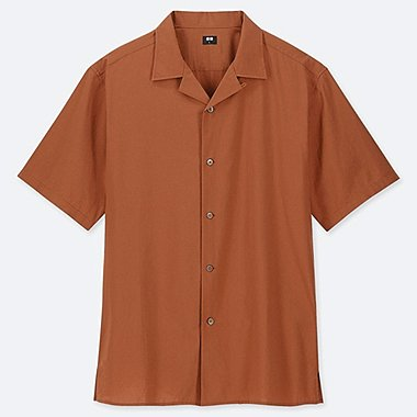MEN OPEN COLLAR SHORT-SLEEVE SHIRT, ORANGE, medium