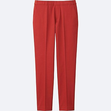 WOMEN Satin Touch Ankle Length Trousers