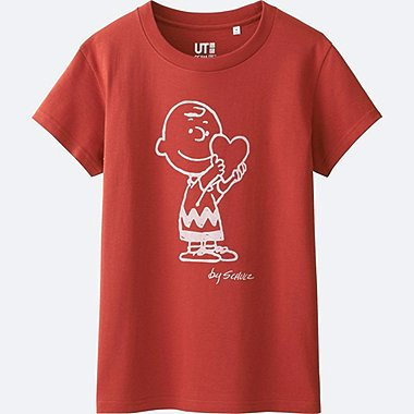 WOMEN PEANUTS SHORT SLEEVE GRAPHIC T-SHIRT, DARK ORANGE, medium
