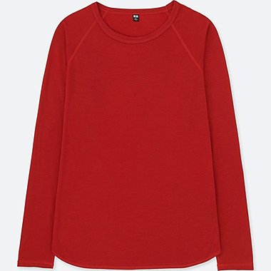 WOMEN WOOL BLENDED CREW NECK LONG SLEEVE T-SHIRT