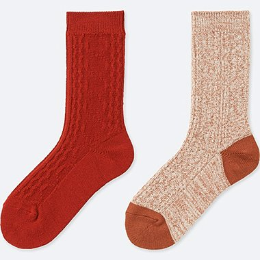 WOMEN HEATTECH CABLE KNIT SOCKS (2 PAIRS), DARK ORANGE, medium