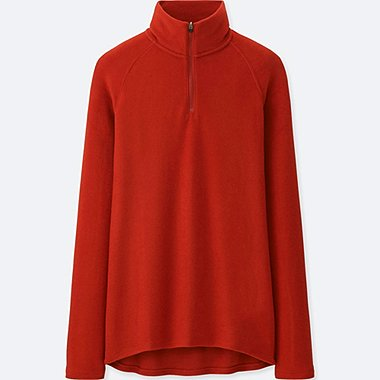 WOMEN HEATTECH STRETCH FLEECE HALF-ZIP PULLOVER, DARK ORANGE, medium