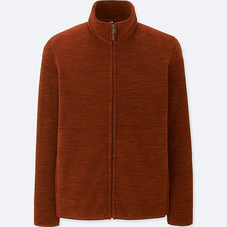MEN FLEECE LONG-SLEEVE FULL-ZIP JACKET, DARK ORANGE, large