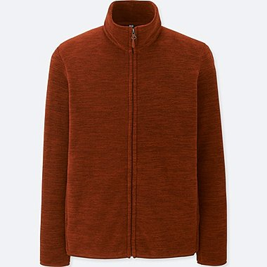 MEN FLEECE LONG-SLEEVE FULL-ZIP JACKET, DARK ORANGE, medium