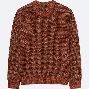 MEN WAFFLE KNIT CREWNECK LONG-SLEEVE SWEATER, DARK ORANGE, medium