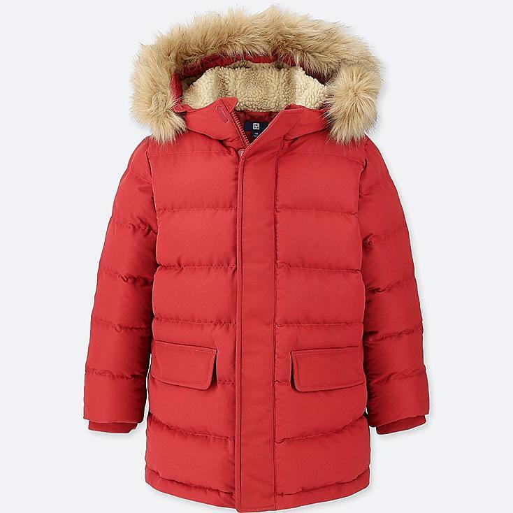 BOYS WARM PADDED COAT, DARK ORANGE, large