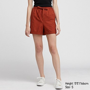 WOMEN LINEN COTTON RELAXED SHORTS, DARK ORANGE, medium