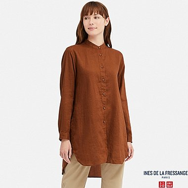 WOMEN INES LINEN STAND COLLAR LONG SLEEVED TUNIC