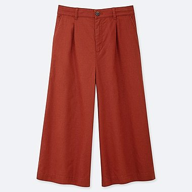 WOMEN LINEN COTTON WIDE CROPPED PANTS, DARK ORANGE, medium