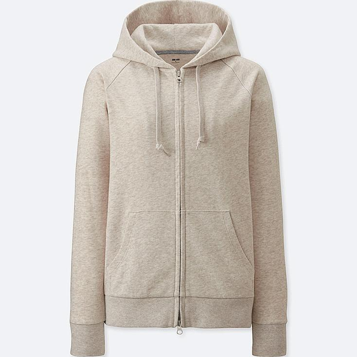 Women's Zip-Up Hoodie, NATURAL, large