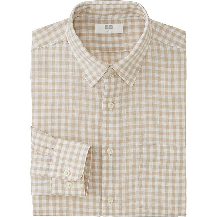 Men Premium Linen Checked Shirt, NATURAL, large