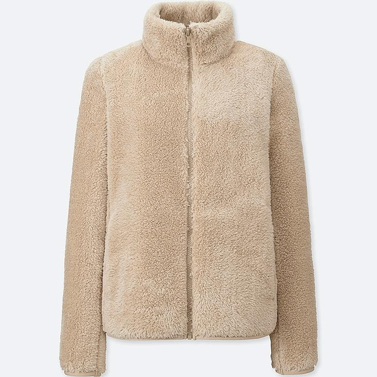 WOMEN FLUFFY YARN FLEECE FULL ZIP JACKET, NATURAL, large