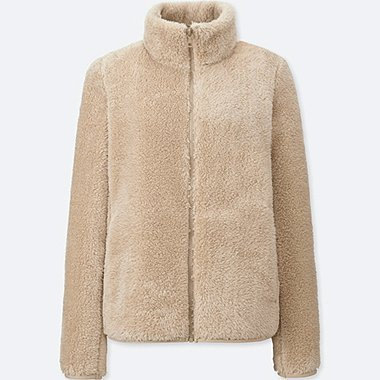 WOMEN FLUFFY YARN FLEECE FULL ZIP JACKET, NATURAL, medium