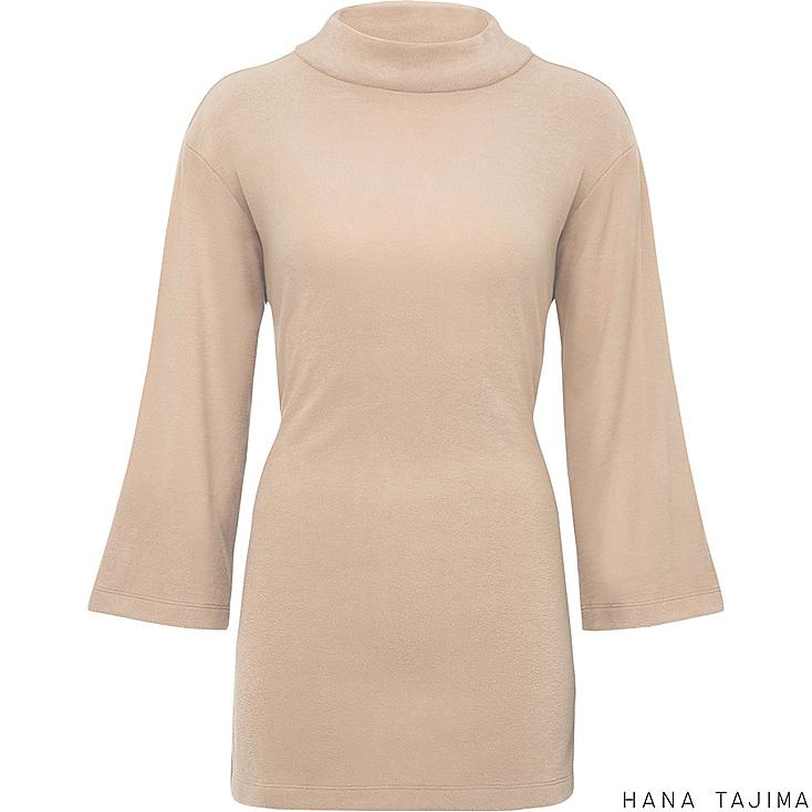 Women HEATTECH Fleece 3/4 Sleeve Tunic, NATURAL, large