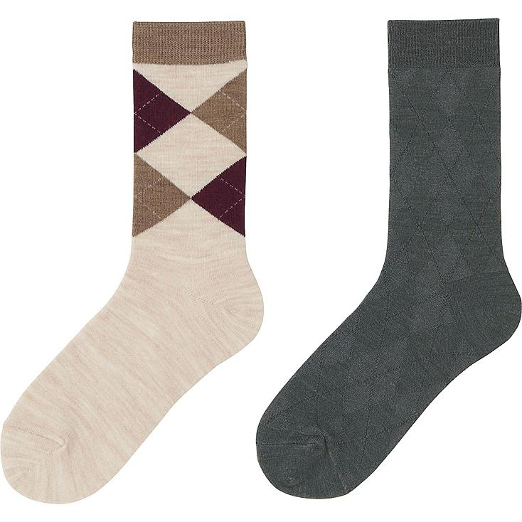 WOMEN HEATTECH SOCKS 2P (ARGYLE), NATURAL, large