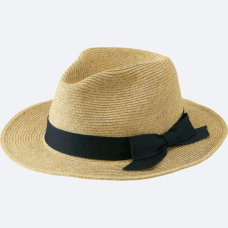 WOMEN PAPER FEDORA HAT, NATURAL, large