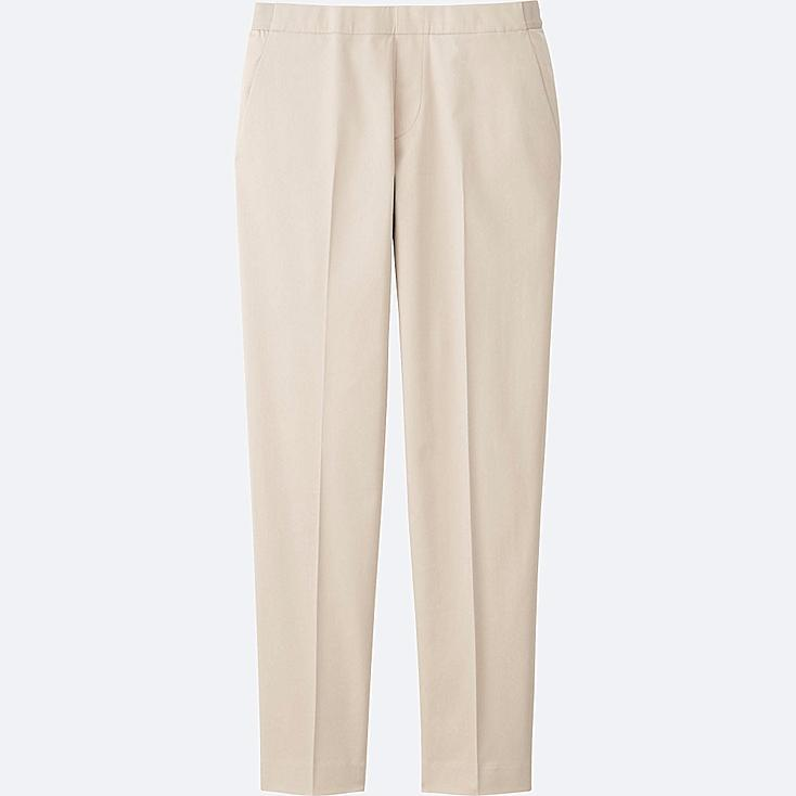 WOMEN SATIN ANKLE LENGTH PANTS, NATURAL, large