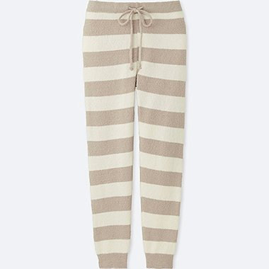 WOMEN FLUFFY YARN LOUNGE PANTS (STRIPE), NATURAL, medium
