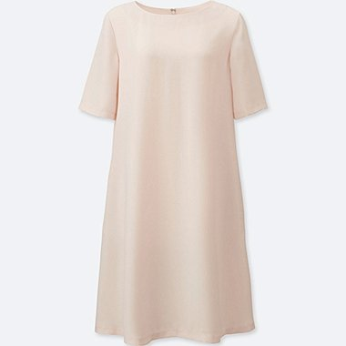 WOMEN CREPE SHORT-SLEEVE DRESS, NATURAL, medium
