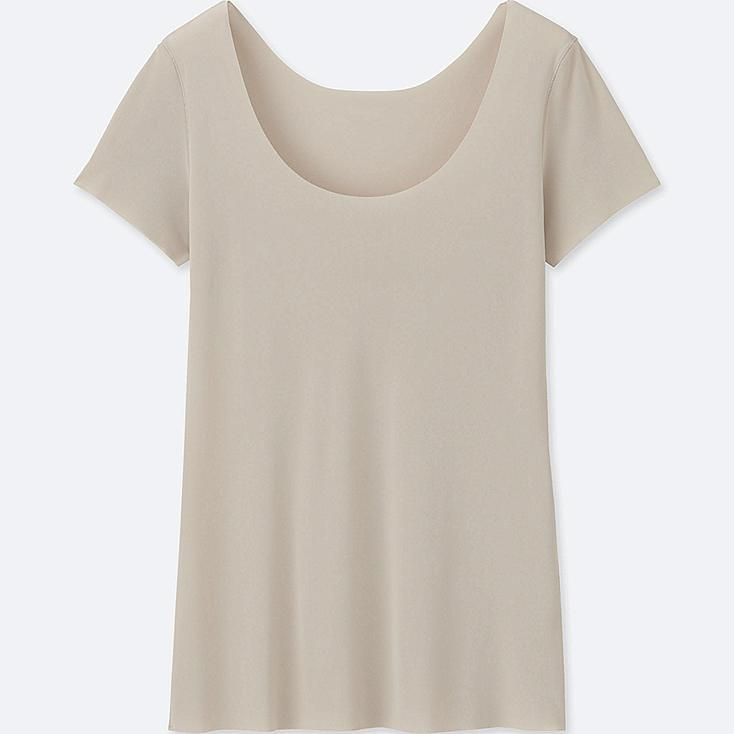 WOMEN AIRism SEAMLESS SHORT SLEEVE T-SHIRT, NATURAL, large