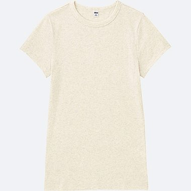 WOMEN RIBBED CREWNECK SHORT-SLEEVE T-SHIRT, NATURAL, medium