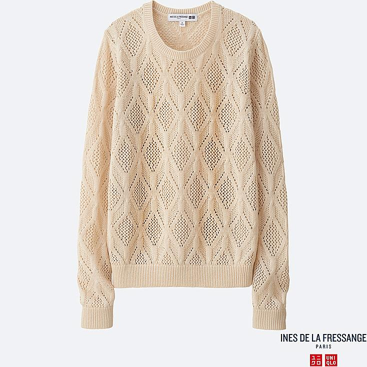 WOMEN INES Pointelle Crew Neck Sweater