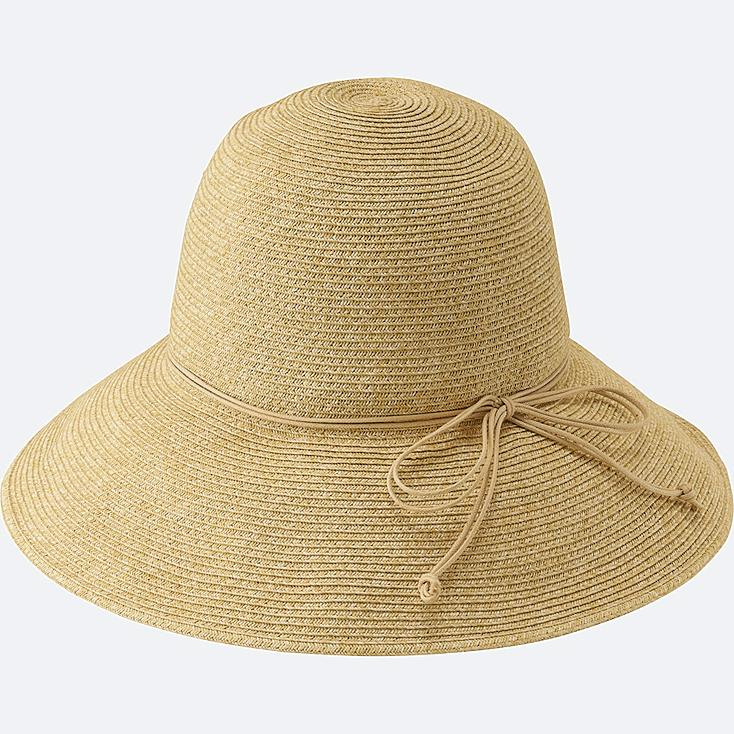 WOMEN CUT FLOPPY HAT, NATURAL, large