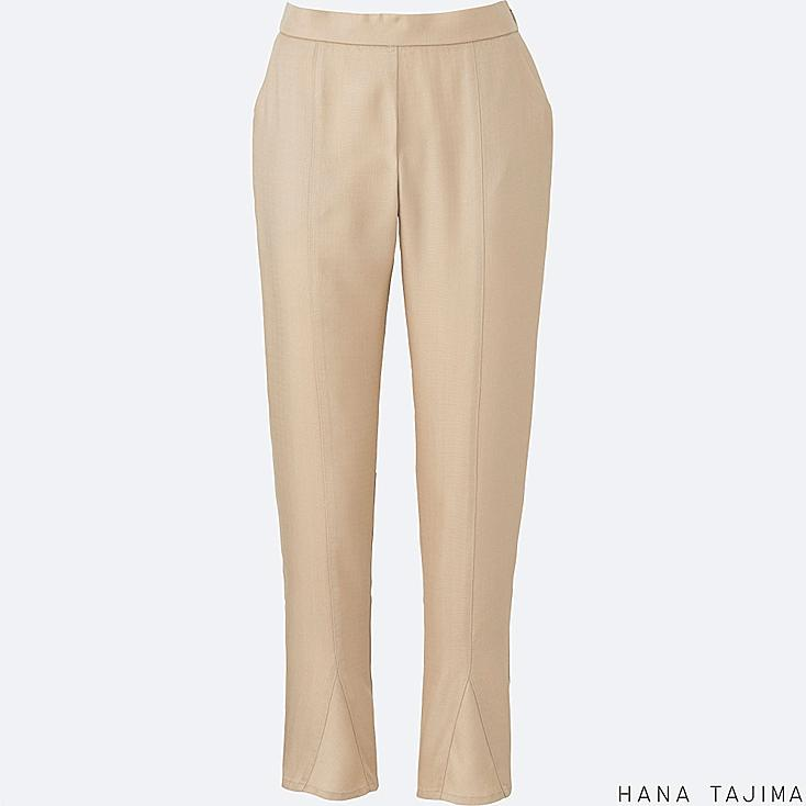 WOMEN TENCEL TAPERED ANKLE LENGTH PANTS, NATURAL, large