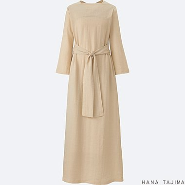 WOMEN CREPE TIE BACK LONG-SLEEVE DRESS, NATURAL, medium