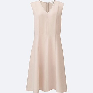 WOMEN Crepe Fitted Flare Dress