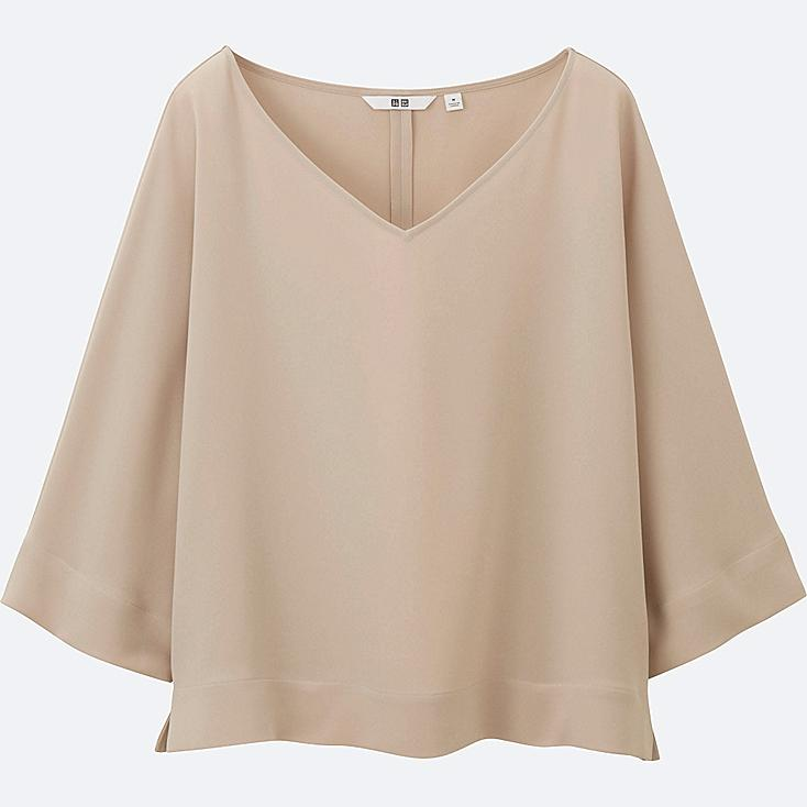 WOMEN DRAPE 3/4 SLEEVE BLOUSE, NATURAL, large