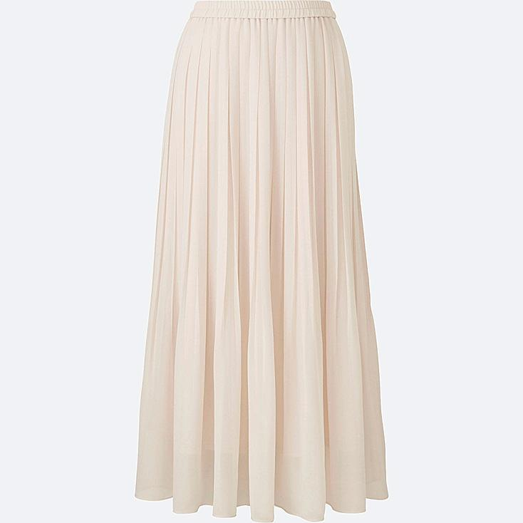 WOMEN HIGH WAIST CHIFFON PLEATED SKIRT, NATURAL, large