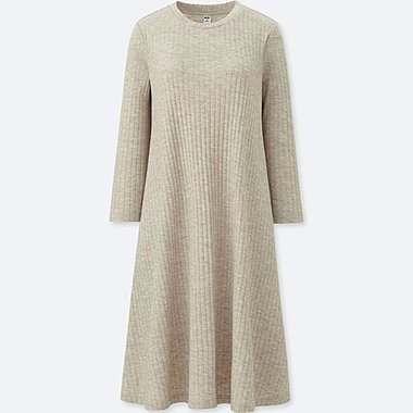 WOMEN RIBBED A-LINE 3/4 SLEEVE DRESS, NATURAL, medium