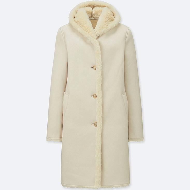 WOMEN FAUX SHEARLING HOODED COAT, NATURAL, large