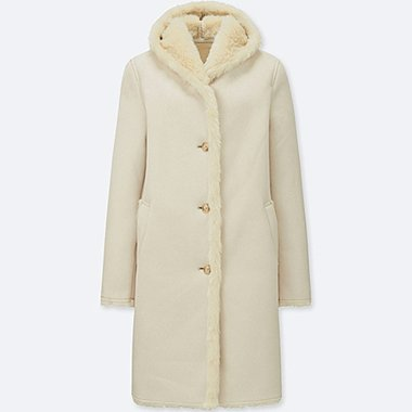 WOMEN FAUX SHEARLING HOODED COAT, NATURAL, medium