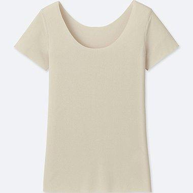 WOMEN AIRism SEAMLESS SHORT-SLEEVE T-SHIRT, NATURAL, medium