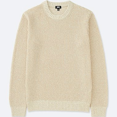 MEN WAFFLE CREWNECK LONG-SLEEVE SWEATER, NATURAL, medium