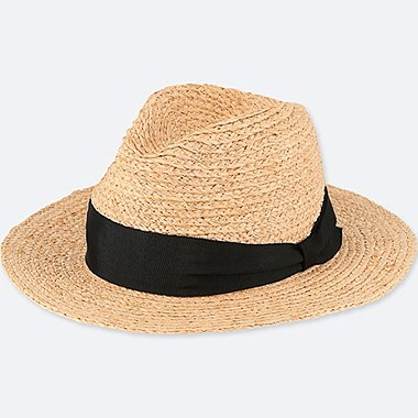 WOMEN RAFFIA HAT, NATURAL, medium