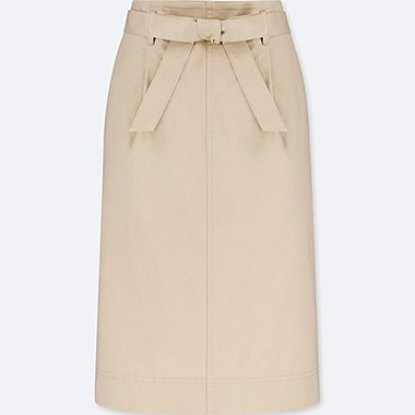 WOMEN HIGH-WAIST BELTED NARROW SKIRT, NATURAL, medium
