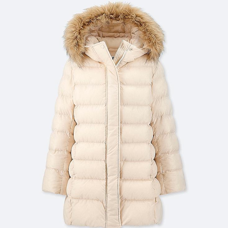 GIRLS WARM PADDED COAT, NATURAL, large