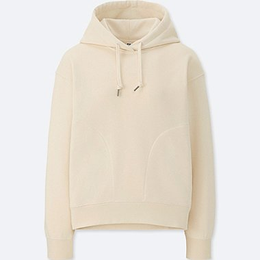 WOMEN LONG-SLEEVE HOODED SWEATSHIRT, NATURAL, medium