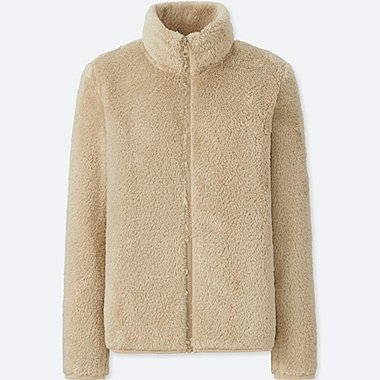 WOMEN FLUFFY YARN FLEECE FULL-ZIP JACKET, NATURAL, medium