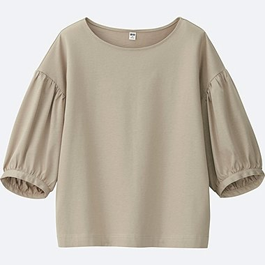 WOMEN MERCERIZED COTTON GATHERED HALF-SLEEVE T-SHIRT, NATURAL, medium