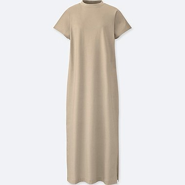 WOMEN MERCERIZED FRENCH SLEEVE DRESS, NATURAL, medium