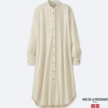 WOMEN SOFT FLANNEL LONG-SLEEVE DRESS (INES DE LA FRESSANGE), NATURAL, medium