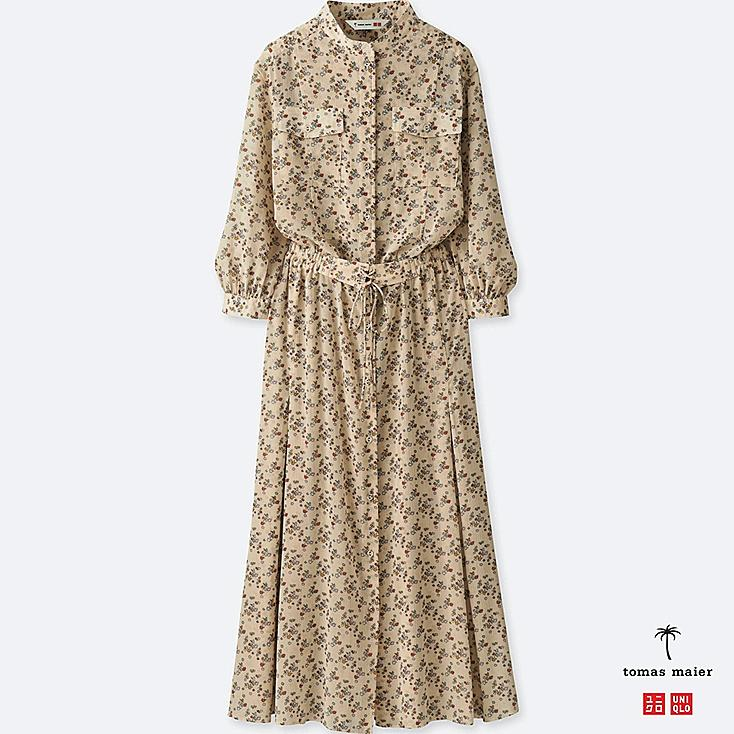 Women Chiffon Printed Long Sleeve Dress by Uniqlo