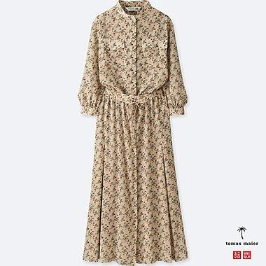 WOMEN CHIFFON PRINTED LONG-SLEEVE DRESS, NATURAL, medium